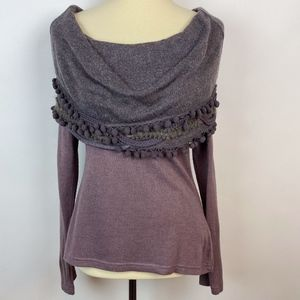 Anthropologie Ryu Cowl Sweater Purple Large